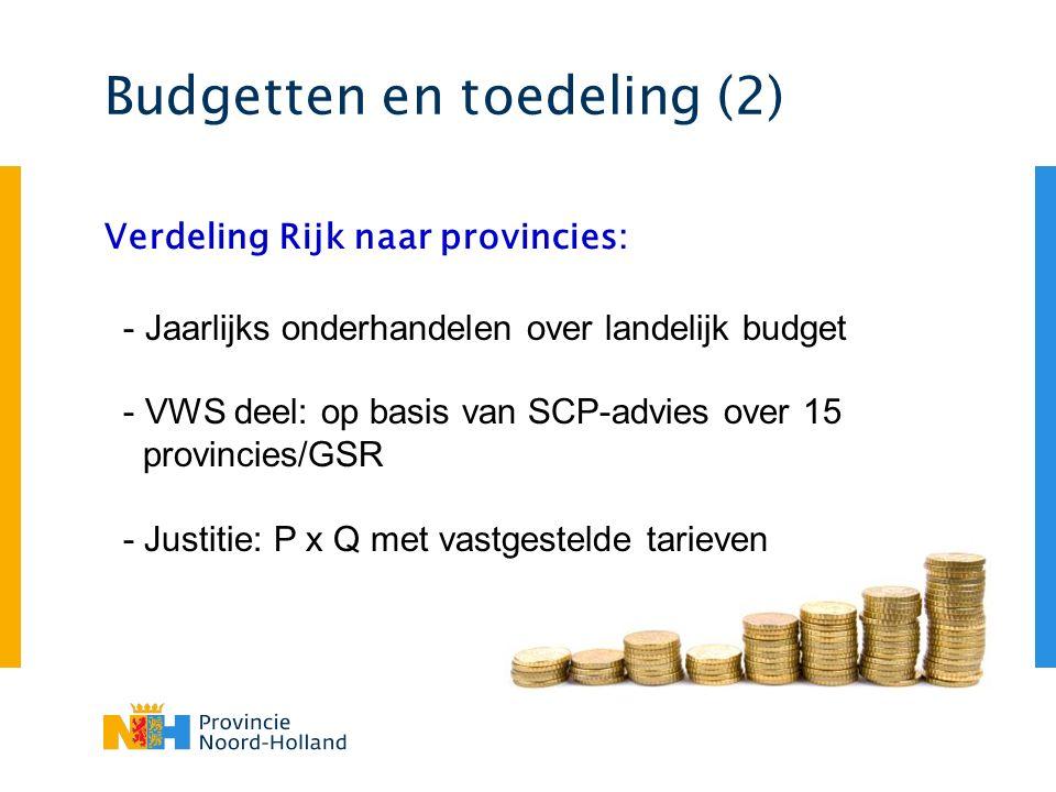 Budgetten en toedeling (2) Verdeling Rijk naar provincies: - Jaarlijks onderhandelen over landelijk budget - VWS deel: op basis van SCP-advies over 15 provincies/GSR - Justitie: P x Q met vastgestelde tarieven