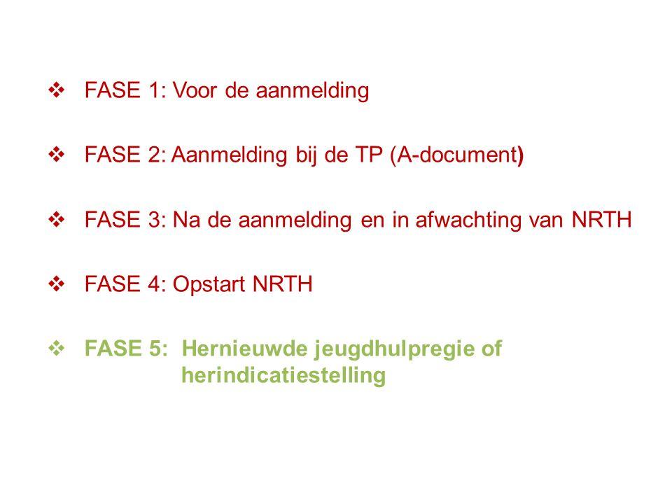  FASE 1: Voor de aanmelding  FASE 2: Aanmelding bij de TP (A-document)  FASE 3: Na de aanmelding en in afwachting van NRTH  FASE 4: Opstart NRTH  FASE 5: Hernieuwde jeugdhulpregie of herindicatiestelling