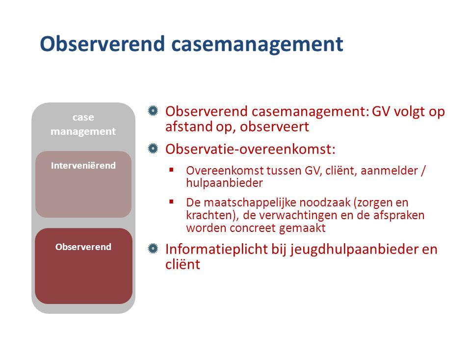 Observerend casemanagement Observerend casemanagement: GV volgt op afstand op, observeert Observatie-overeenkomst:  Overeenkomst tussen GV, cliënt, aanmelder / hulpaanbieder  De maatschappelijke noodzaak (zorgen en krachten), de verwachtingen en de afspraken worden concreet gemaakt Informatieplicht bij jeugdhulpaanbieder en cliënt case management Interveniërend Observerend
