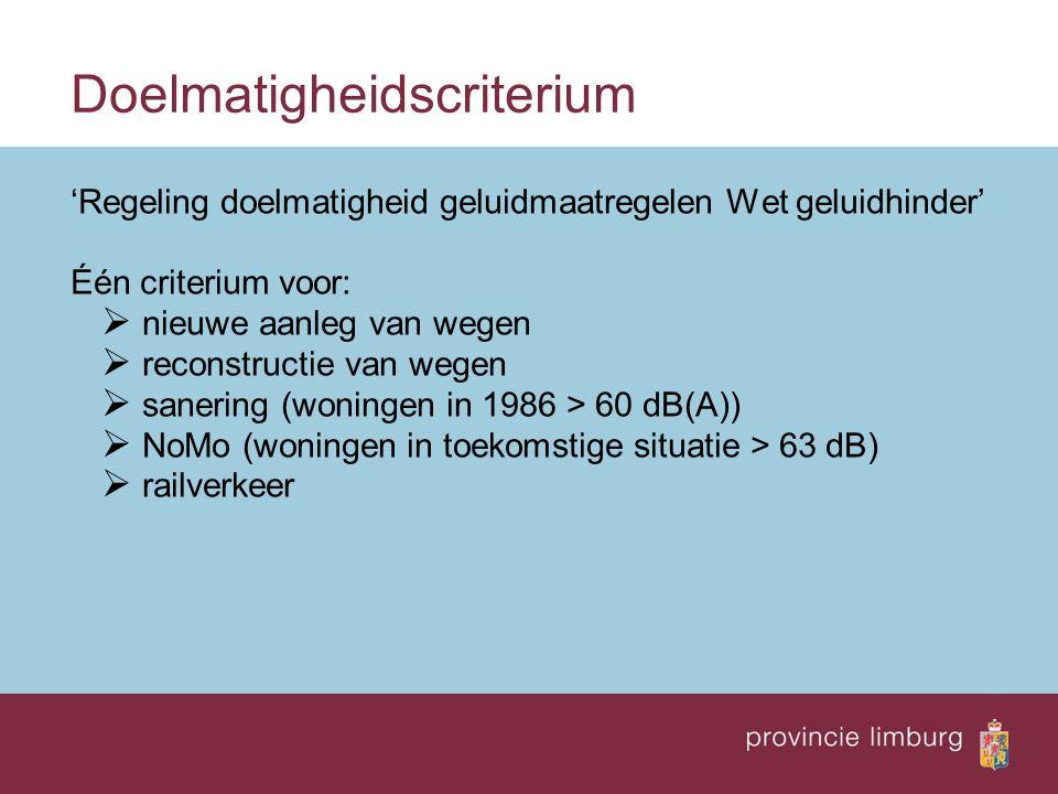 Doelmatigheidscriterium 'Regeling doelmatigheid geluidmaatregelen Wet geluidhinder' Één criterium voor:  nieuwe aanleg van wegen  reconstructie van wegen  sanering (woningen in 1986 > 60 dB(A))  NoMo (woningen in toekomstige situatie > 63 dB)  railverkeer