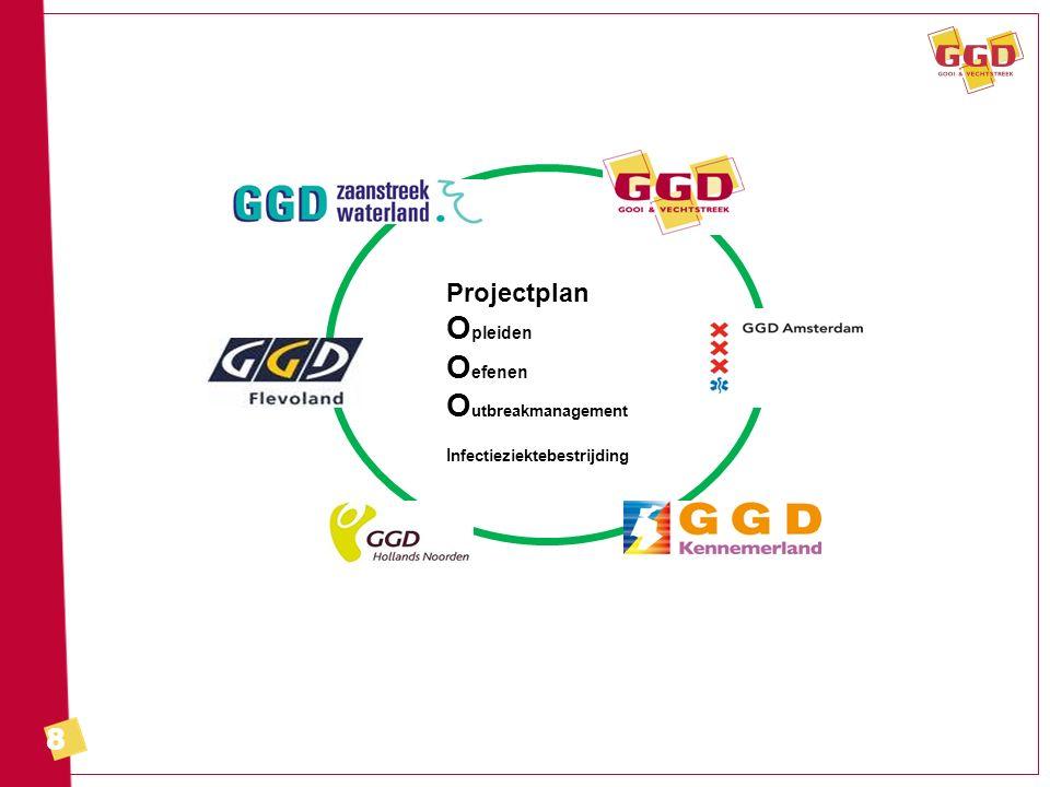 9 Project Outbreakmanagement Doel: verbeteren van outbreakmanagement in de regio Noord-Holland/Flevoland –verbeteren van de samenwerking –oefenen op alle GGD'en –met bijzondere aandacht voor opschaling
