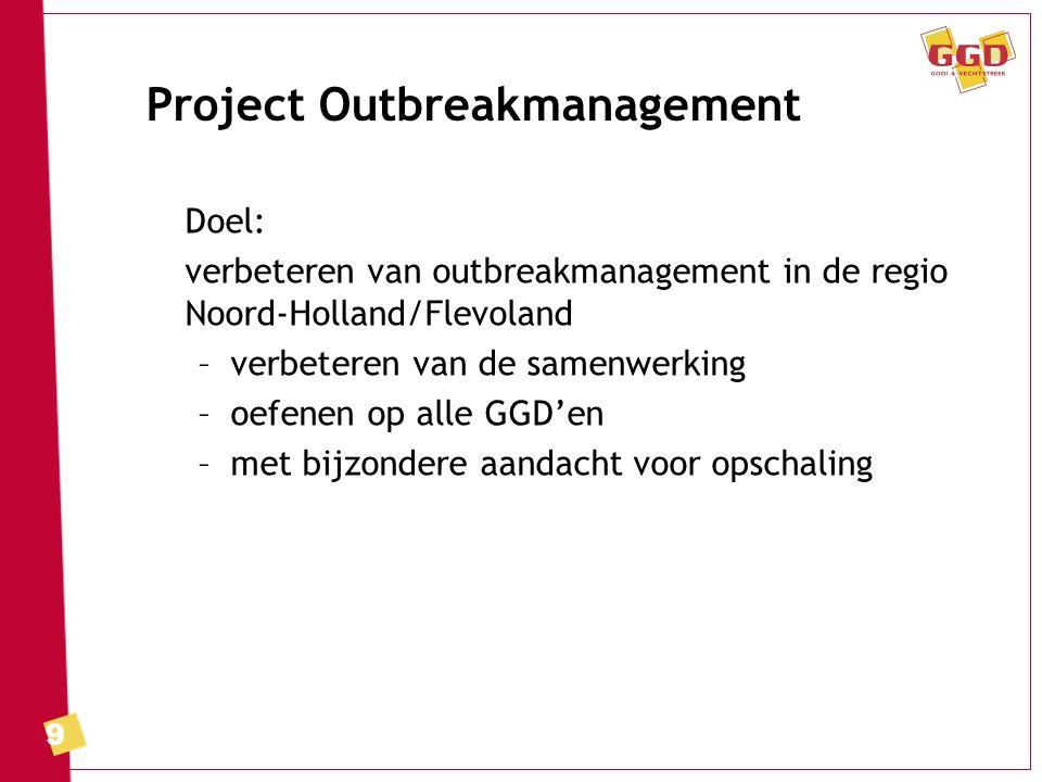 9 Project Outbreakmanagement Doel: verbeteren van outbreakmanagement in de regio Noord-Holland/Flevoland –verbeteren van de samenwerking –oefenen op a