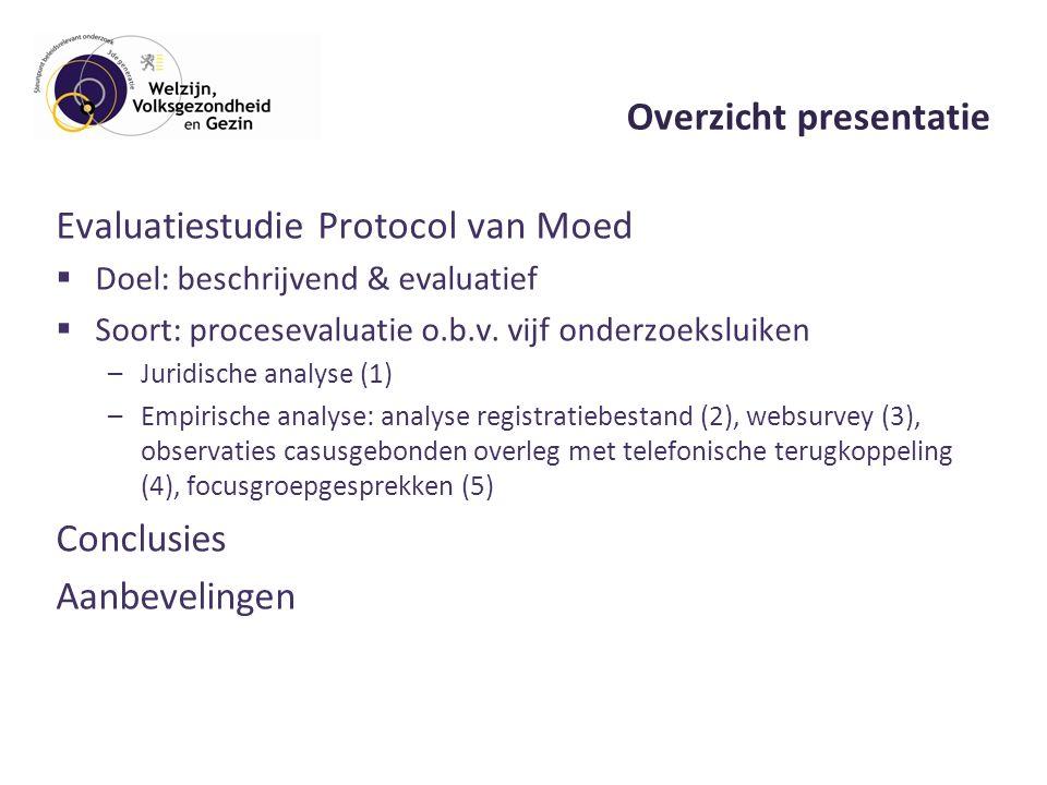 Overzicht presentatie Evaluatiestudie Protocol van Moed  Doel: beschrijvend & evaluatief  Soort: procesevaluatie o.b.v.