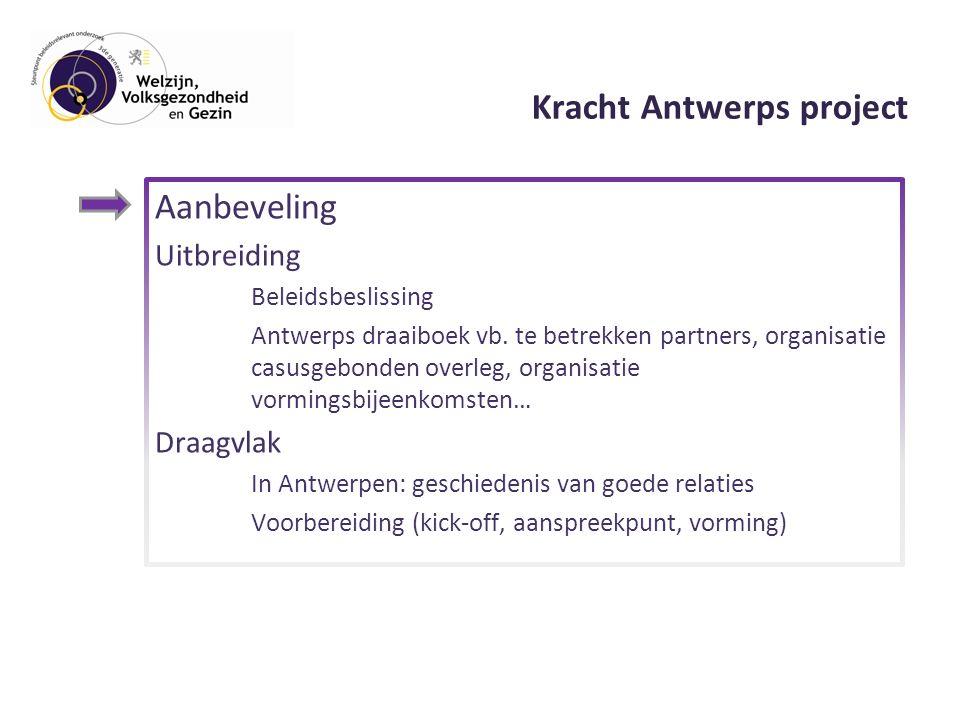 Kracht Antwerps project Aanbeveling Uitbreiding Beleidsbeslissing Antwerps draaiboek vb.