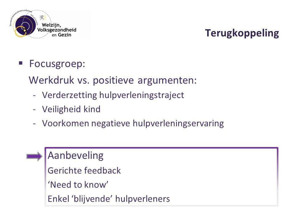 Terugkoppeling  Focusgroep: Werkdruk vs.