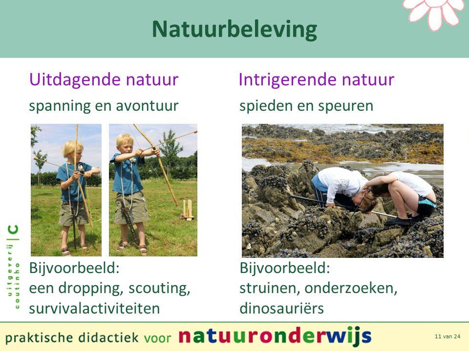 11 van 24 Natuurbeleving Uitdagende natuur Intrigerende natuur spanning en avontuur spieden en speuren Bijvoorbeeld: een dropping, scouting, struinen, onderzoeken, survivalactiviteiten dinosauriërs
