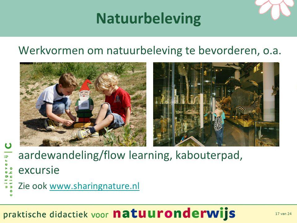 17 van 24 Natuurbeleving Werkvormen om natuurbeleving te bevorderen, o.a.