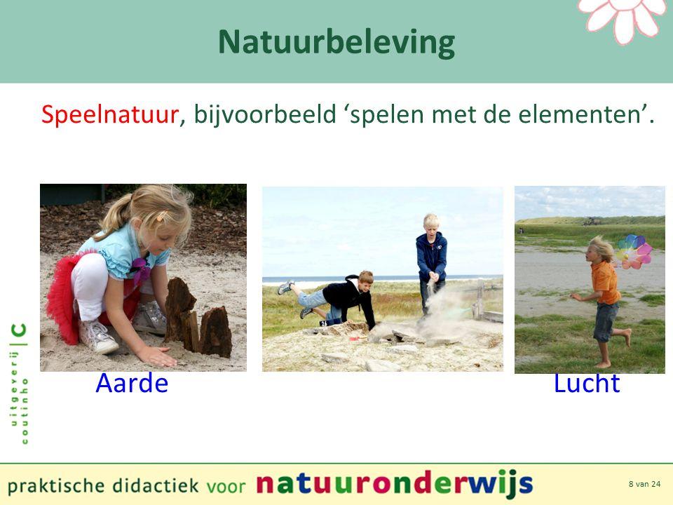 8 van 24 Natuurbeleving Speelnatuur, bijvoorbeeld 'spelen met de elementen'. Aarde Lucht