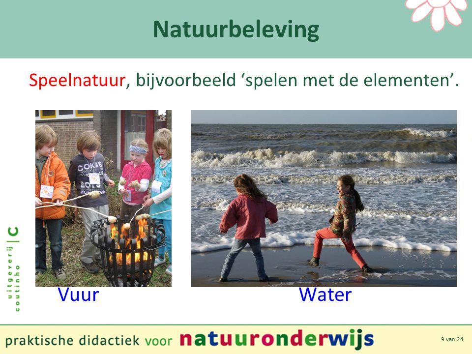 9 van 24 Natuurbeleving Speelnatuur, bijvoorbeeld 'spelen met de elementen'. Vuur Water