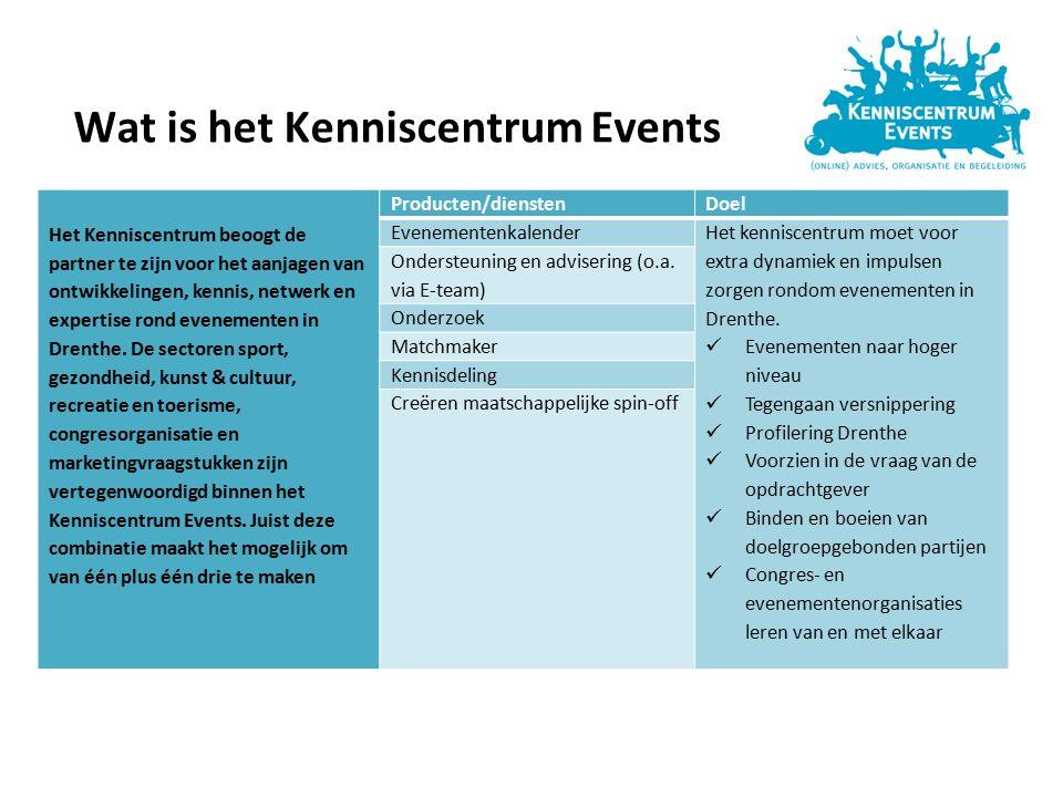 Wat is het Kenniscentrum Events Het Kenniscentrum beoogt de partner te zijn voor het aanjagen van ontwikkelingen, kennis, netwerk en expertise rond evenementen in Drenthe.