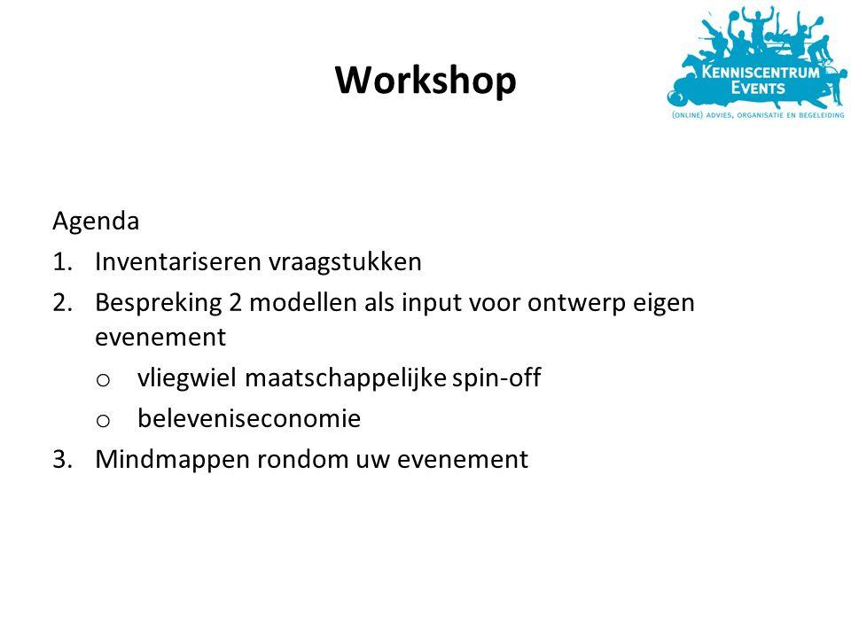 Workshop Agenda 1.Inventariseren vraagstukken 2.Bespreking 2 modellen als input voor ontwerp eigen evenement o vliegwiel maatschappelijke spin-off o beleveniseconomie 3.Mindmappen rondom uw evenement