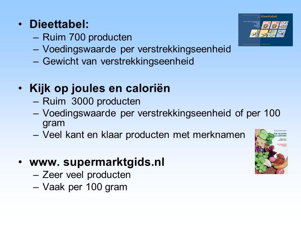 Dieettabel: –Ruim 700 producten –Voedingswaarde per verstrekkingseenheid –Gewicht van verstrekkingseenheid Kijk op joules en caloriën –Ruim 3000 produ