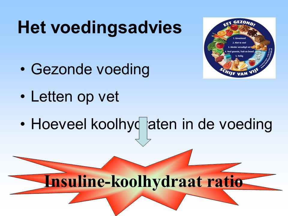 Het voedingsadvies Gezonde voeding Letten op vet Hoeveel koolhydraten in de voeding Insuline-koolhydraat ratio