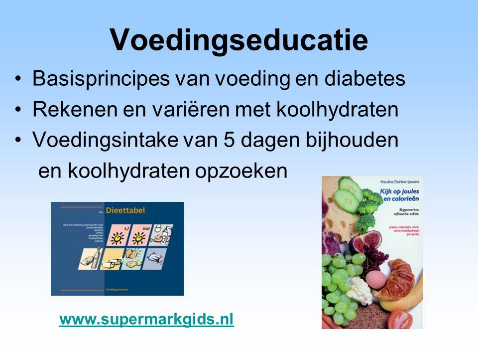Voedingseducatie Basisprincipes van voeding en diabetes Rekenen en variëren met koolhydraten Voedingsintake van 5 dagen bijhouden en koolhydraten opzoeken www.supermarkgids.nl