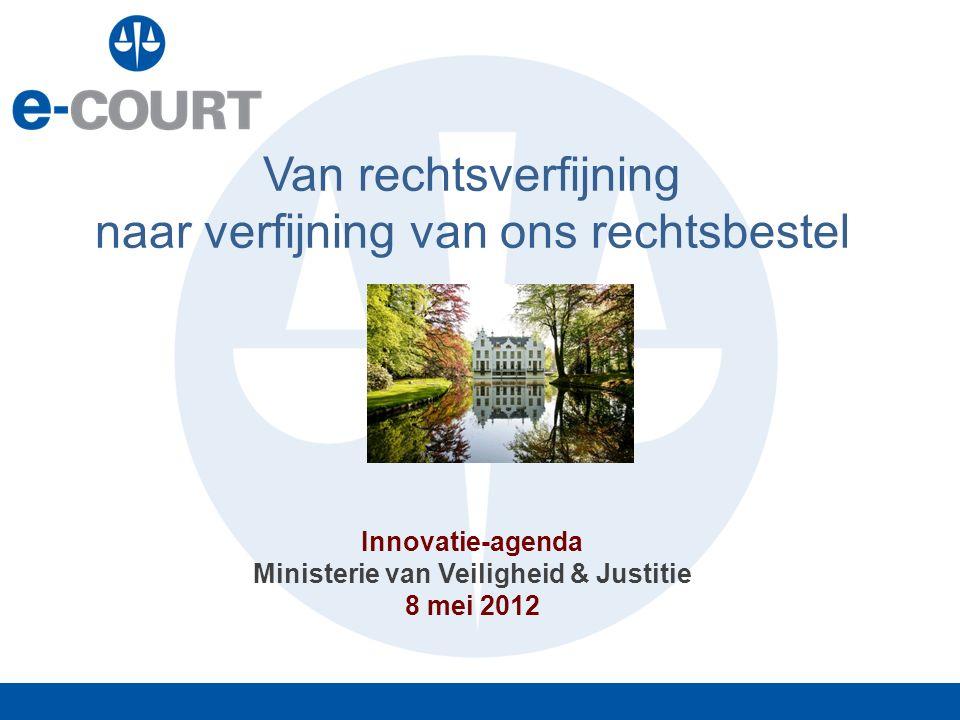 Van rechtsverfijning naar verfijning van ons rechtsbestel Innovatie-agenda Ministerie van Veiligheid & Justitie 8 mei 2012