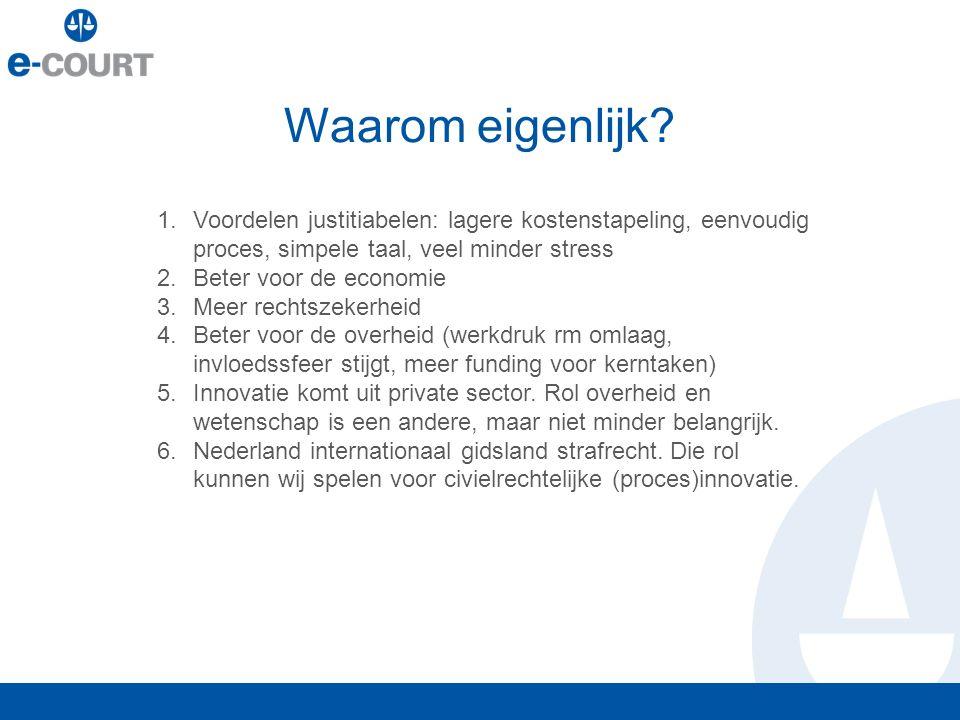 Waarom eigenlijk? 1.Voordelen justitiabelen: lagere kostenstapeling, eenvoudig proces, simpele taal, veel minder stress 2.Beter voor de economie 3.Mee