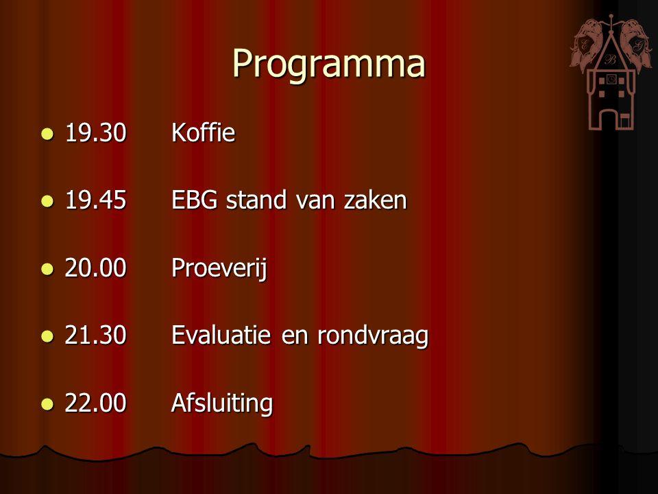 Programma 19.30Koffie 19.30Koffie 19.45EBG stand van zaken 19.45EBG stand van zaken 20.00Proeverij 20.00Proeverij 21.30Evaluatie en rondvraag 21.30Eva