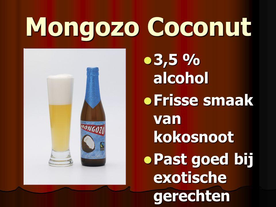 Mongozo Coconut 3,5 % alcohol 3,5 % alcohol Frisse smaak van kokosnoot Frisse smaak van kokosnoot Past goed bij exotische gerechten Past goed bij exot