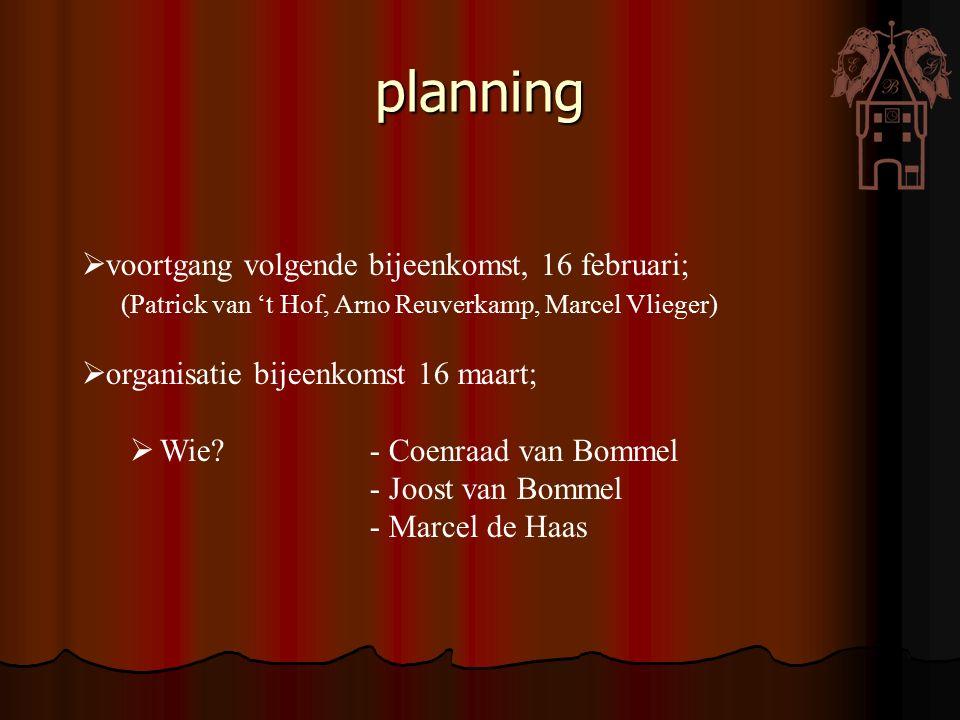 planning  voortgang volgende bijeenkomst, 16 februari; (Patrick van 't Hof, Arno Reuverkamp, Marcel Vlieger)  organisatie bijeenkomst 16 maart;  Wi