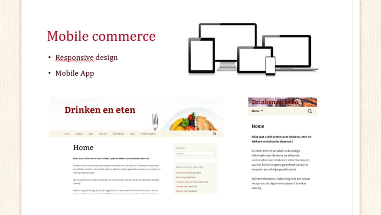 Mobile commerce Responsive design Niet haalbaar