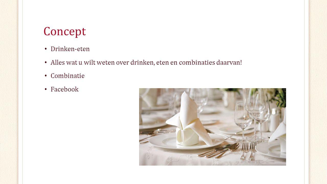 Concept Drinken-eten Alles wat u wilt weten over drinken, eten en combinaties daarvan! Combinatie Facebook