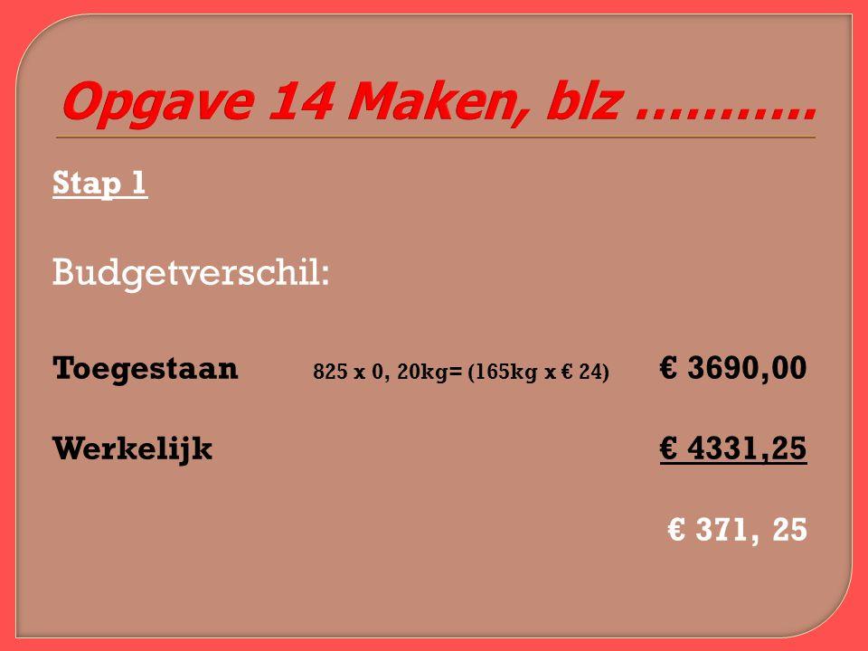 Stap 1 Budgetverschil: Toegestaan 825 x 0, 20kg= (165kg x € 24) € 3690,00 Werkelijk€ 4331,25 € 371, 25 Opgave 14 Maken, blz ………..