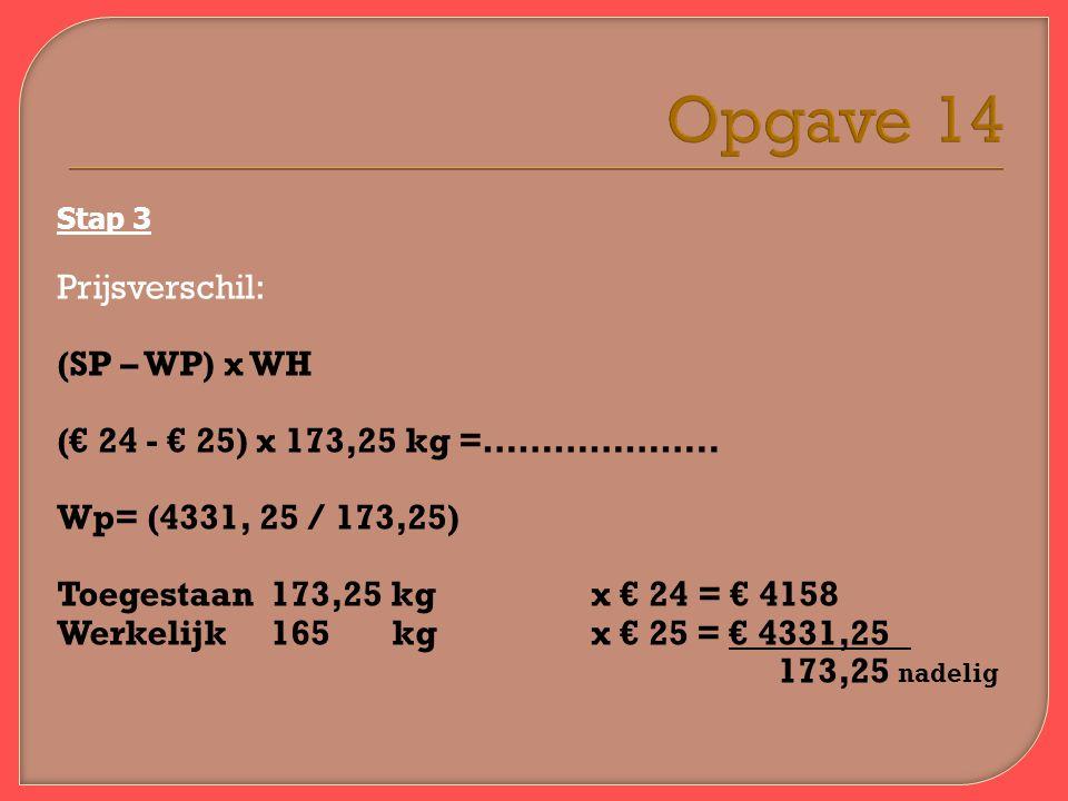 Opgave 14 Stap 3 Prijsverschil: (SP – WP) x WH (€ 24 - € 25) x 173,25 kg =………………..