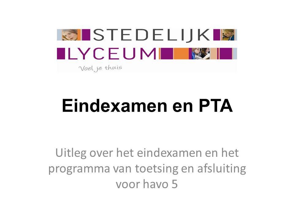 Eindexamen en PTA Uitleg over het eindexamen en het programma van toetsing en afsluiting voor havo 5