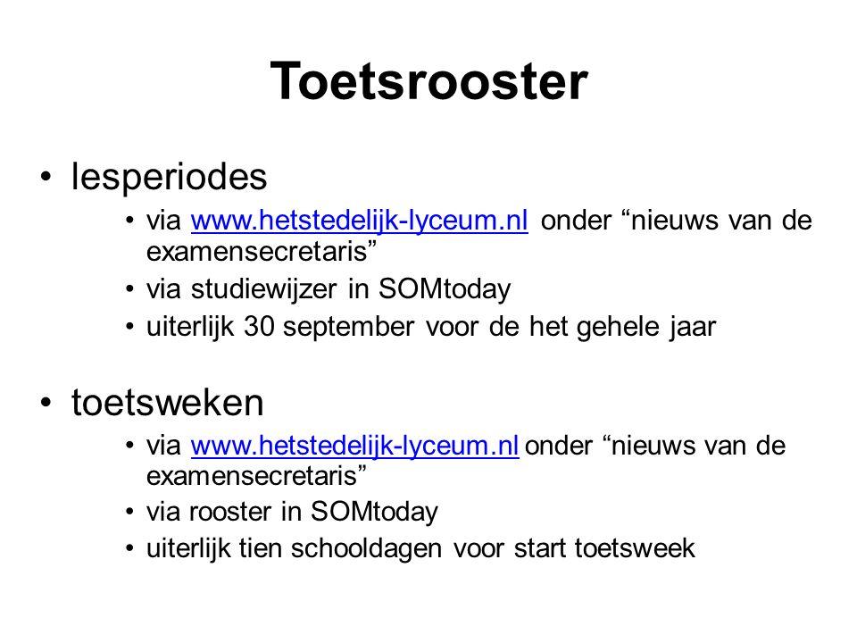 """Toetsrooster lesperiodes via www.hetstedelijk-lyceum.nl onder """"nieuws van de examensecretaris""""www.hetstedelijk-lyceum.nl via studiewijzer in SOMtoday"""