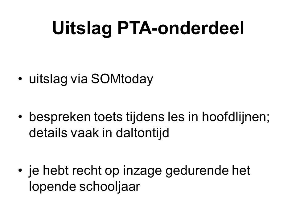Uitslag PTA-onderdeel uitslag via SOMtoday bespreken toets tijdens les in hoofdlijnen; details vaak in daltontijd je hebt recht op inzage gedurende he