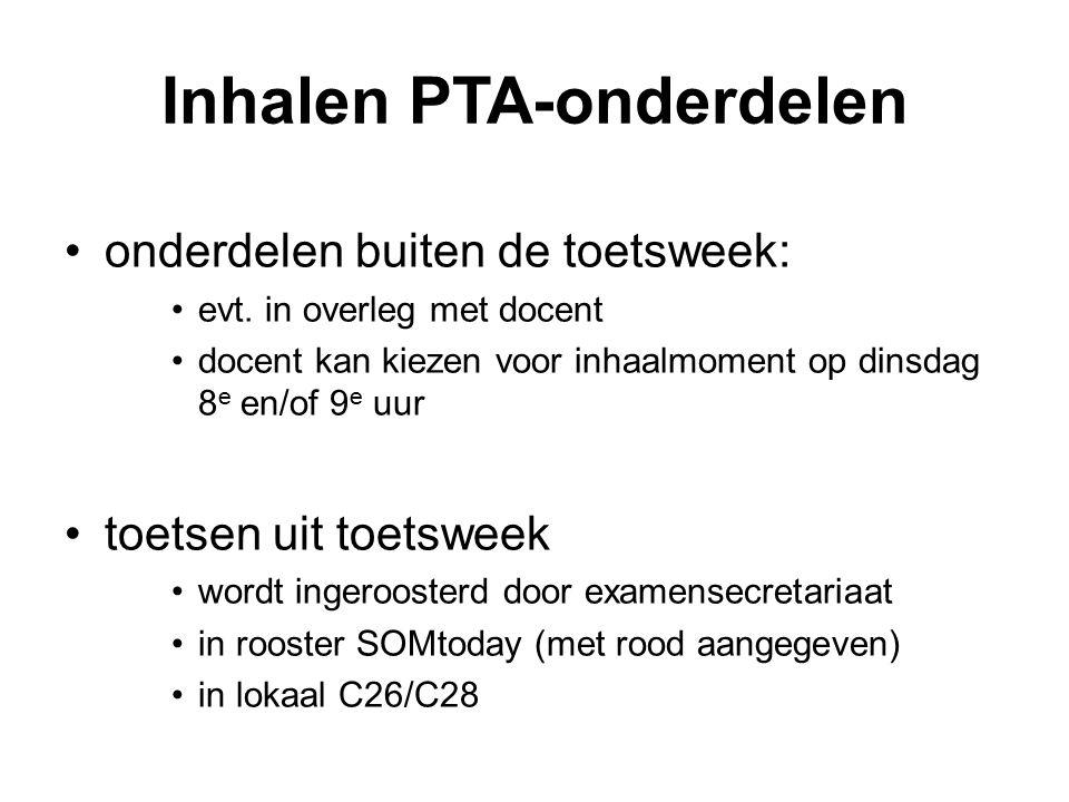 Inhalen PTA-onderdelen onderdelen buiten de toetsweek: evt. in overleg met docent docent kan kiezen voor inhaalmoment op dinsdag 8 e en/of 9 e uur toe