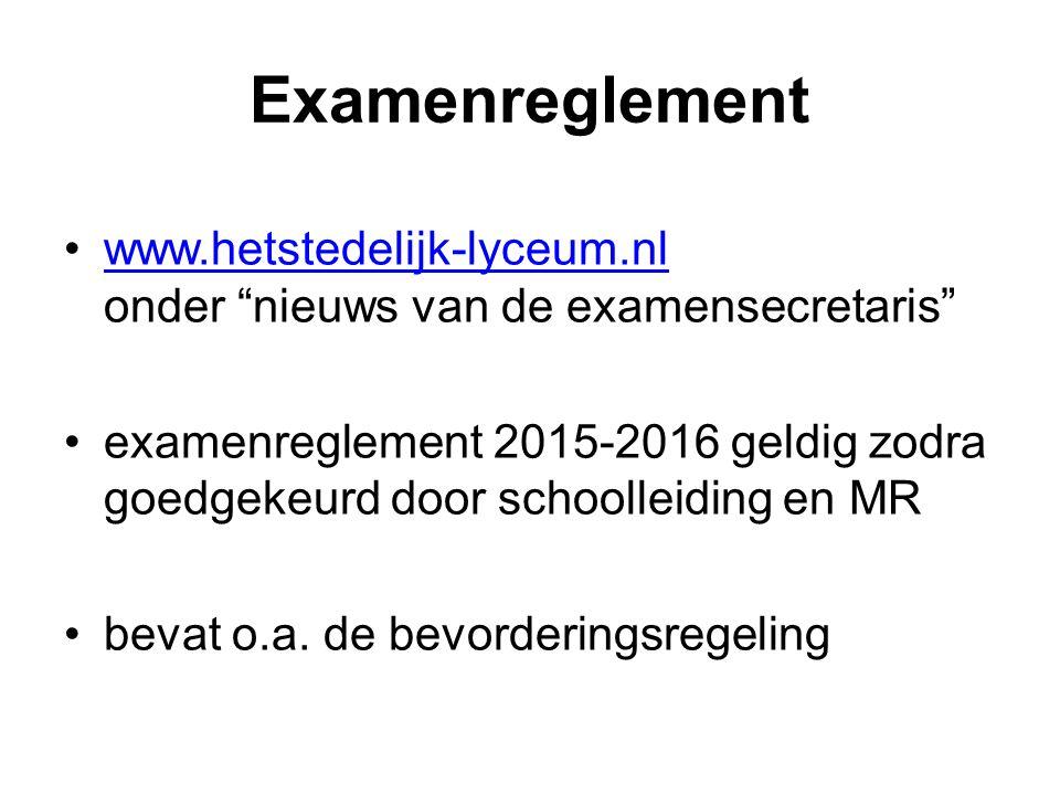 Examenreglement www.hetstedelijk-lyceum.nl onder nieuws van de examensecretaris www.hetstedelijk-lyceum.nl examenreglement 2015-2016 geldig zodra goedgekeurd door schoolleiding en MR bevat o.a.