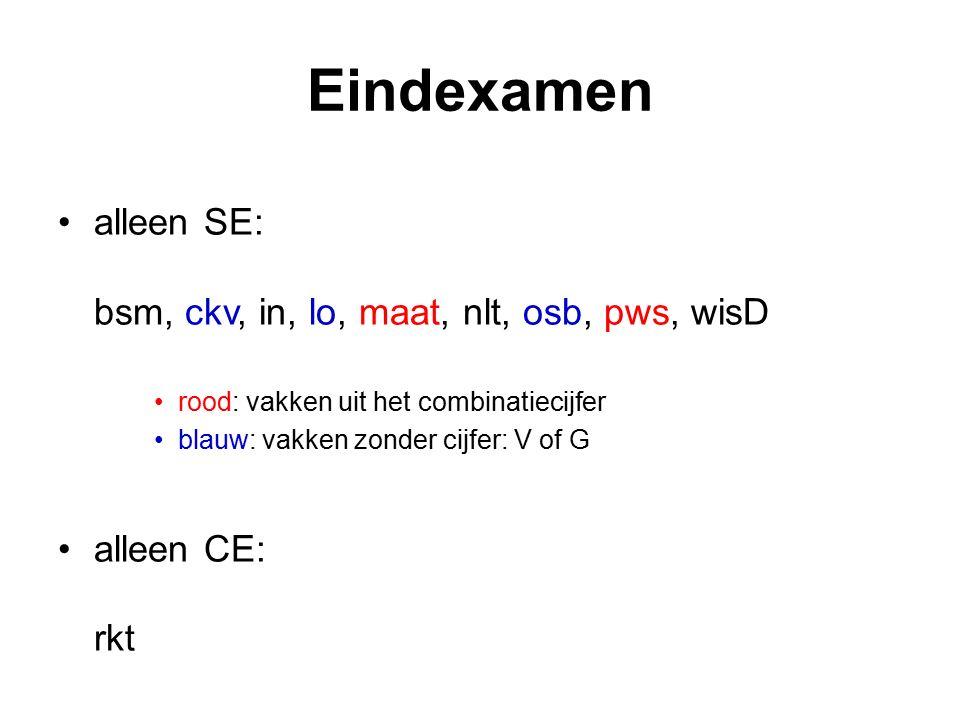 Eindexamen alleen SE: bsm, ckv, in, lo, maat, nlt, osb, pws, wisD rood: vakken uit het combinatiecijfer blauw: vakken zonder cijfer: V of G alleen CE: