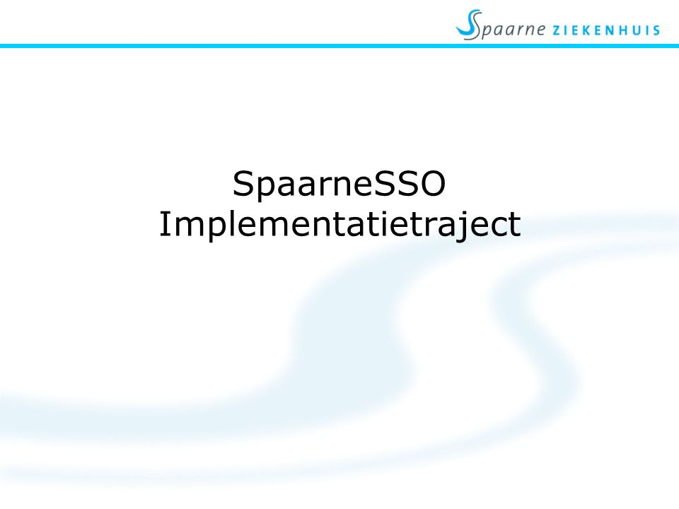 SpaarneSSO Implementatietraject