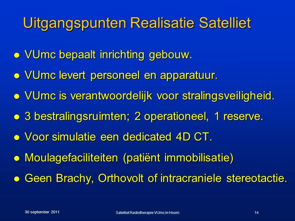 Satelliet Radiotherapie VUmc in Hoorn14 30 september 2011 Uitgangspunten Realisatie Satelliet l VUmc bepaalt inrichting gebouw. l VUmc levert personee