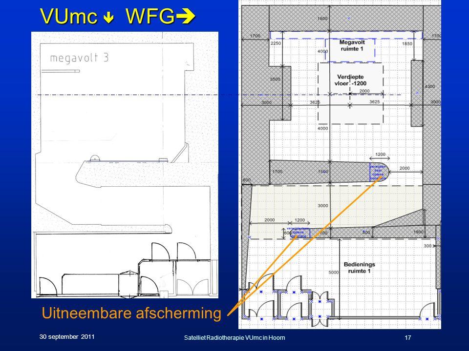 Satelliet Radiotherapie VUmc in Hoorn17 30 september 2011 VUmc  WFG  Uitneembare afscherming
