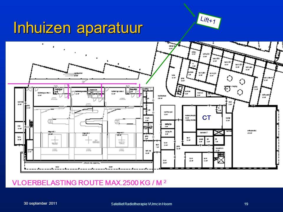 Satelliet Radiotherapie VUmc in Hoorn19 30 september 2011 Inhuizen aparatuur CT Lift+1 VLOERBELASTING ROUTE MAX.2500 KG / M 2