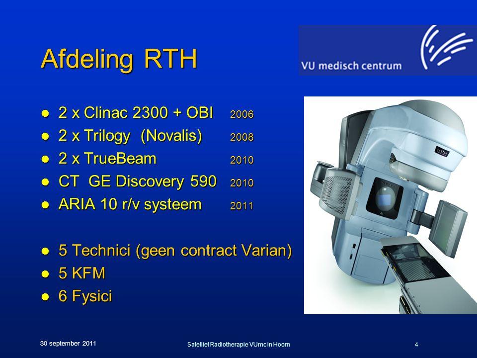 Satelliet Radiotherapie VUmc in Hoorn4 30 september 2011 Afdeling RTH l 2 x Clinac 2300 + OBI 2006 l 2 x Trilogy (Novalis) 2008 l 2 x TrueBeam 2010 l CT GE Discovery 590 2010 l ARIA 10 r/v systeem 2011 l 5 Technici (geen contract Varian) l 5 KFM l 6 Fysici
