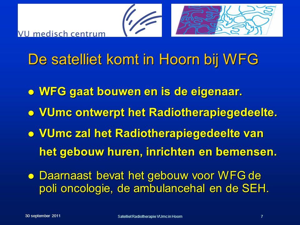 Satelliet Radiotherapie VUmc in Hoorn7 30 september 2011 De satelliet komt in Hoorn bij WFG l WFG gaat bouwen en is de eigenaar. l VUmc ontwerpt het R