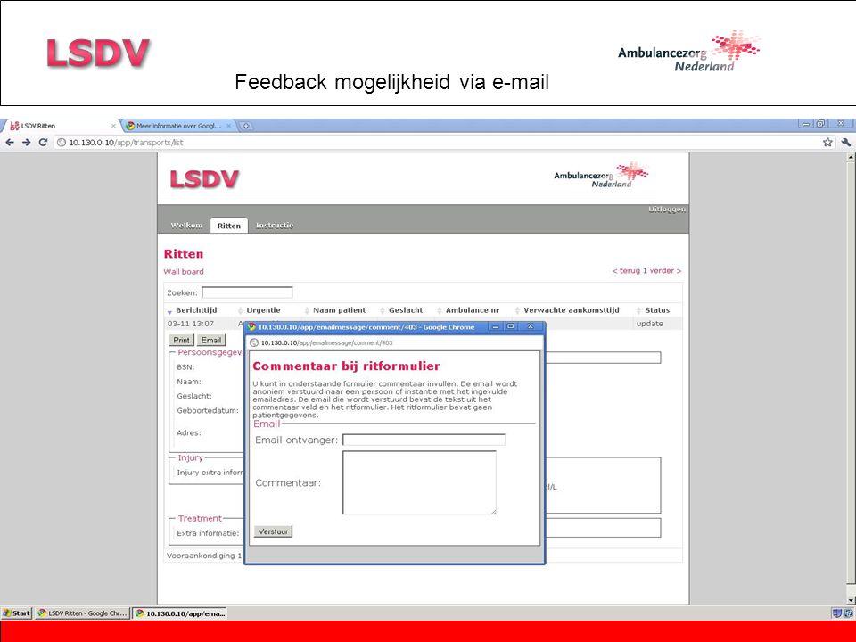Feedback mogelijkheid via e-mail