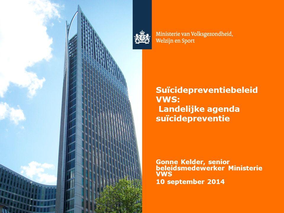1 Suïcidepreventiebeleid VWS: Landelijke agenda suïcidepreventie Gonne Kelder, senior beleidsmedewerker Ministerie VWS 10 september 2014
