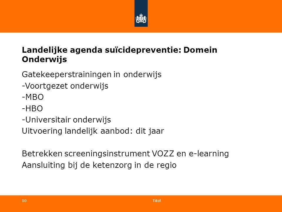 10 Landelijke agenda suïcidepreventie: Domein Onderwijs Gatekeeperstrainingen in onderwijs -Voortgezet onderwijs -MBO -HBO -Universitair onderwijs Uit