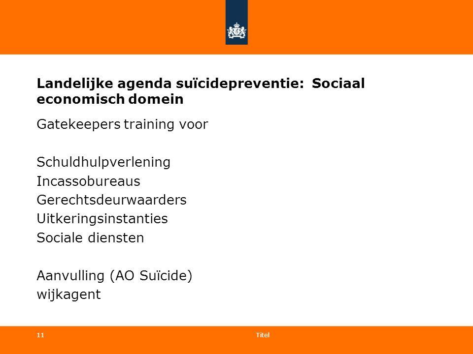 11 Landelijke agenda suïcidepreventie: Sociaal economisch domein Gatekeepers training voor Schuldhulpverlening Incassobureaus Gerechtsdeurwaarders Uit