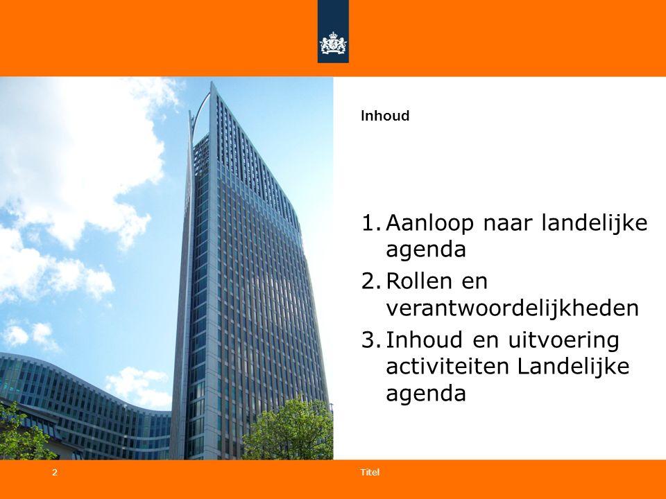 2 Inhoud 1.Aanloop naar landelijke agenda 2.Rollen en verantwoordelijkheden 3.Inhoud en uitvoering activiteiten Landelijke agenda Titel 2