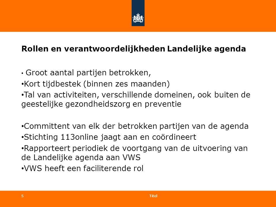 5 Rollen en verantwoordelijkheden Landelijke agenda Groot aantal partijen betrokken, Kort tijdbestek (binnen zes maanden) Tal van activiteiten, versch