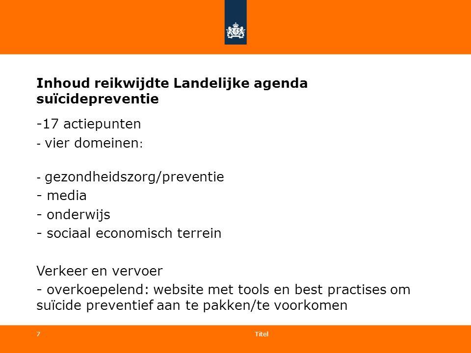 7 Inhoud reikwijdte Landelijke agenda suïcidepreventie -17 actiepunten - vier domeinen : - gezondheidszorg/preventie - media - onderwijs - sociaal eco