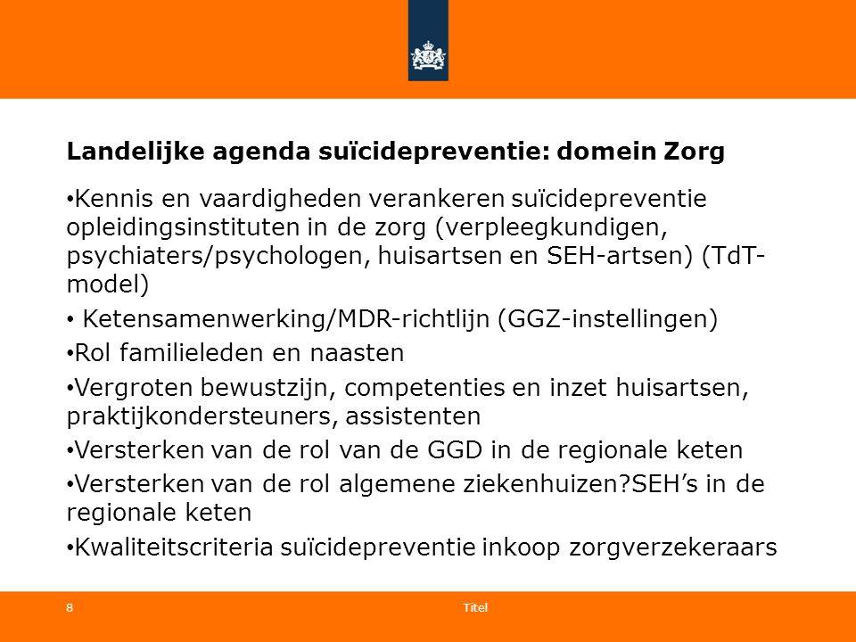 8 Landelijke agenda suïcidepreventie: domein Zorg Kennis en vaardigheden verankeren suïcidepreventie opleidingsinstituten in de zorg (verpleegkundigen