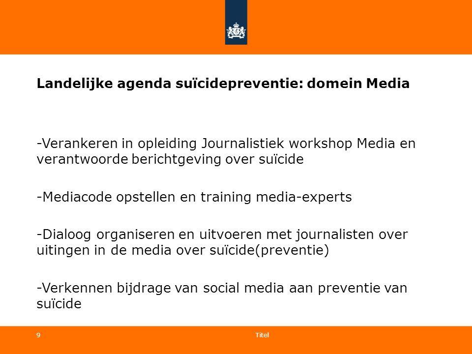 9 Landelijke agenda suïcidepreventie: domein Media -Verankeren in opleiding Journalistiek workshop Media en verantwoorde berichtgeving over suïcide -M