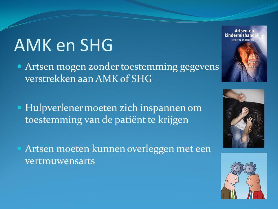 AMK en SHG Artsen mogen zonder toestemming gegevens verstrekken aan AMK of SHG Hulpverlener moeten zich inspannen om toestemming van de patiënt te krijgen Artsen moeten kunnen overleggen met een vertrouwensarts