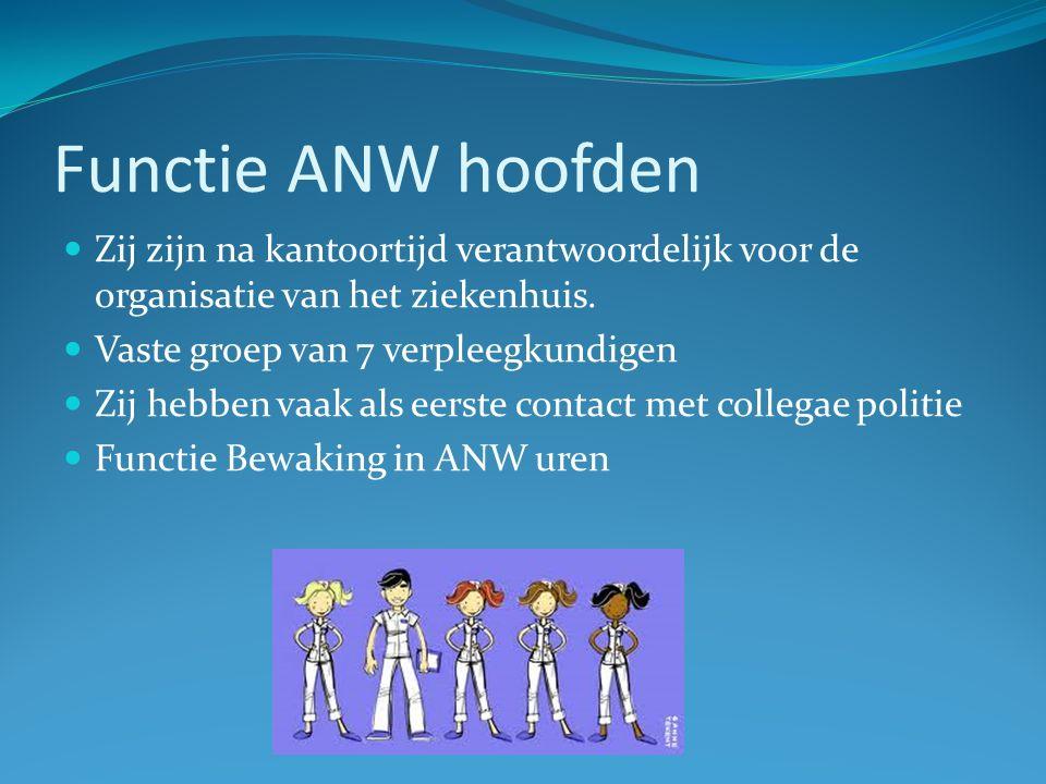 Functie ANW hoofden Zij zijn na kantoortijd verantwoordelijk voor de organisatie van het ziekenhuis.